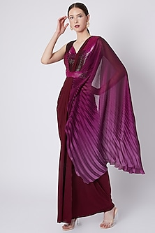 Purple Embroidered Ombre Pre-Stitched Saree by Amit Aggarwal