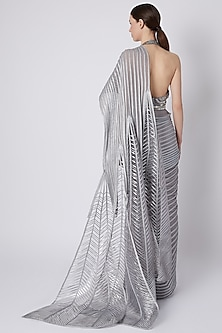Silver Embroidered Ombre Pre-Stitched Saree by Amit Aggarwal