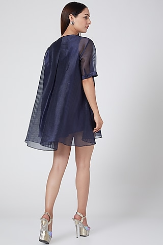 Cobalt Blue Metallic Shirt With Slip by Amit Aggarwal