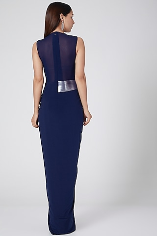 Cobalt Blue Dress With Moulded Bodice by Amit Aggarwal
