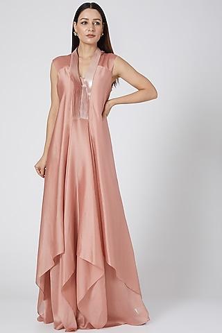 Blush Pink Draped Dress by Amit Aggarwal