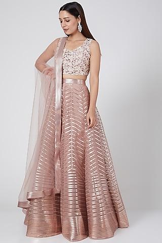Blush Pink Embroidered Lehenga Set by Amit Aggarwal