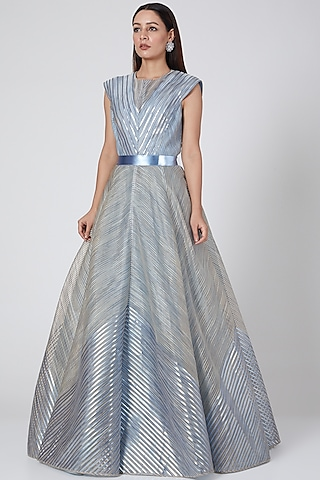 Sky Blue Embroidered Gown With Belt by Amit Aggarwal