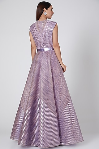Lilac Embroidered Gown With Belt by Amit Aggarwal