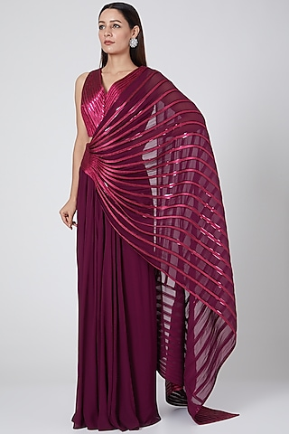 Wine Embroidered Pre-Stitched Saree Set by Amit Aggarwal