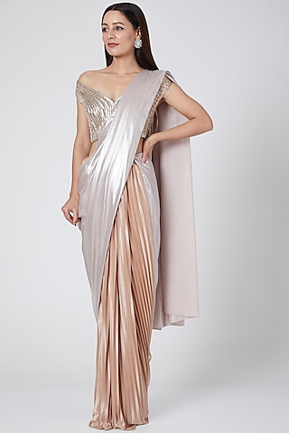 Blush Pink Embroidered Saree Set by Amit Aggarwal