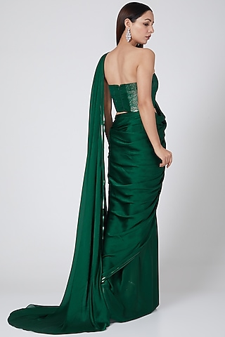 Emerald Green Saree With Metallic Bustier by Amit Aggarwal