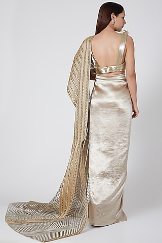 Gold Embroidered Pre Stitched Saree Set by Amit Aggarwal