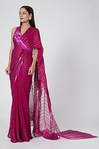 Fuchsia Embroidered & Pre Stitched Saree Set by Amit Aggarwal