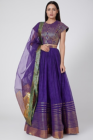 Purple Embroidered Lehenga Set by Amit Aggarwal
