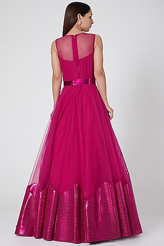 Fuchsia Embroidered & Structured Gown by Amit Aggarwal