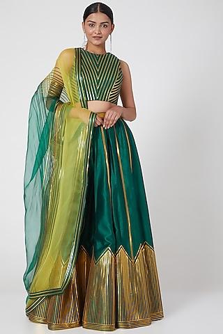 Emerald Green Silk Chanderi Lehenga Set by Amit Aggarwal