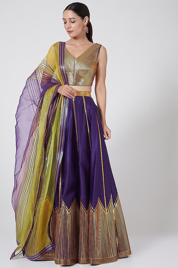 Purple Metallic Structured Lehenga Set by Amit Aggarwal