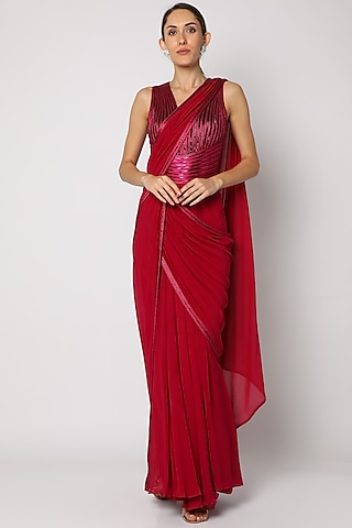 Fuchsia Red Hand Embroidered Pre-Stitched Saree by Amit Aggarwal