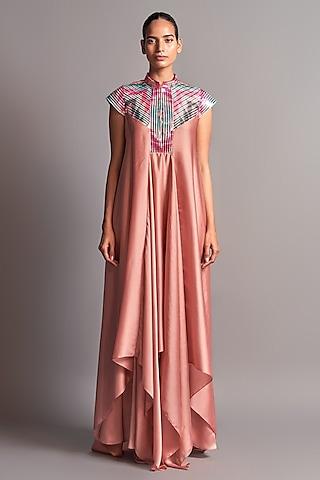Blush Pink Dress With Metallic Chevron Detailing by Amit Aggarwal