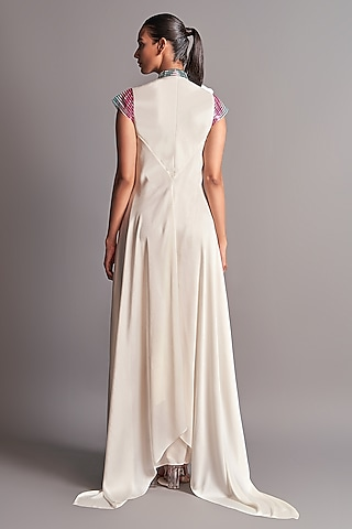 Ivory Dress With Metallic Chevron Detailing by Amit Aggarwal