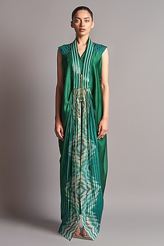 Emerald Green Jumpsuit With Jacket by Amit Aggarwal