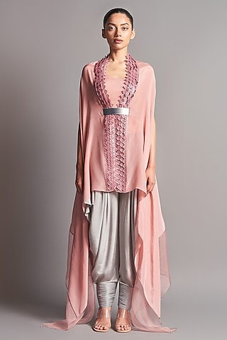 Blush Pink & Grey Embroidered Cape Set by Amit Aggarwal