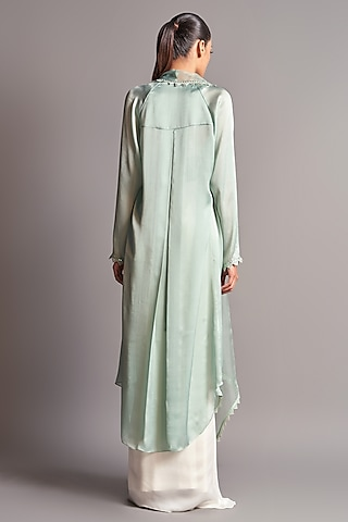Mint Green & Ivory Draped Skirt Set  by Amit Aggarwal