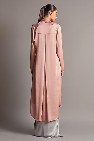Blush Pink & Grey Draped Skirt Set by Amit Aggarwal