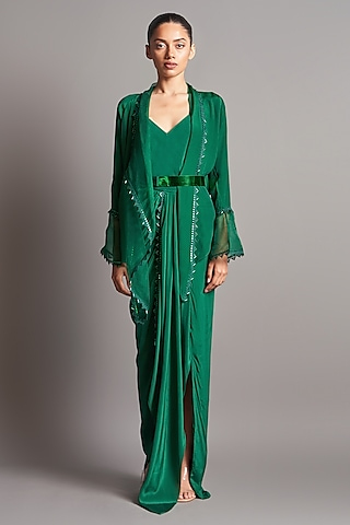 Emerald Green Embroidered Skirt Set by Amit Aggarwal