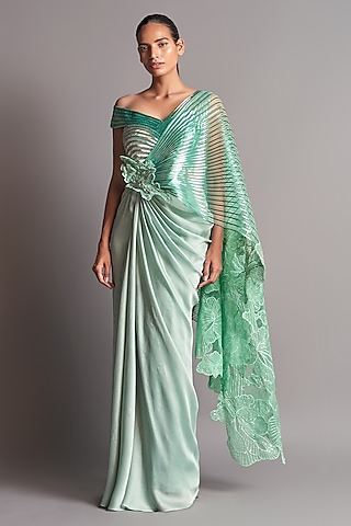 Mint Green Embroidered Pre-Stitched Saree Set by Amit Aggarwal