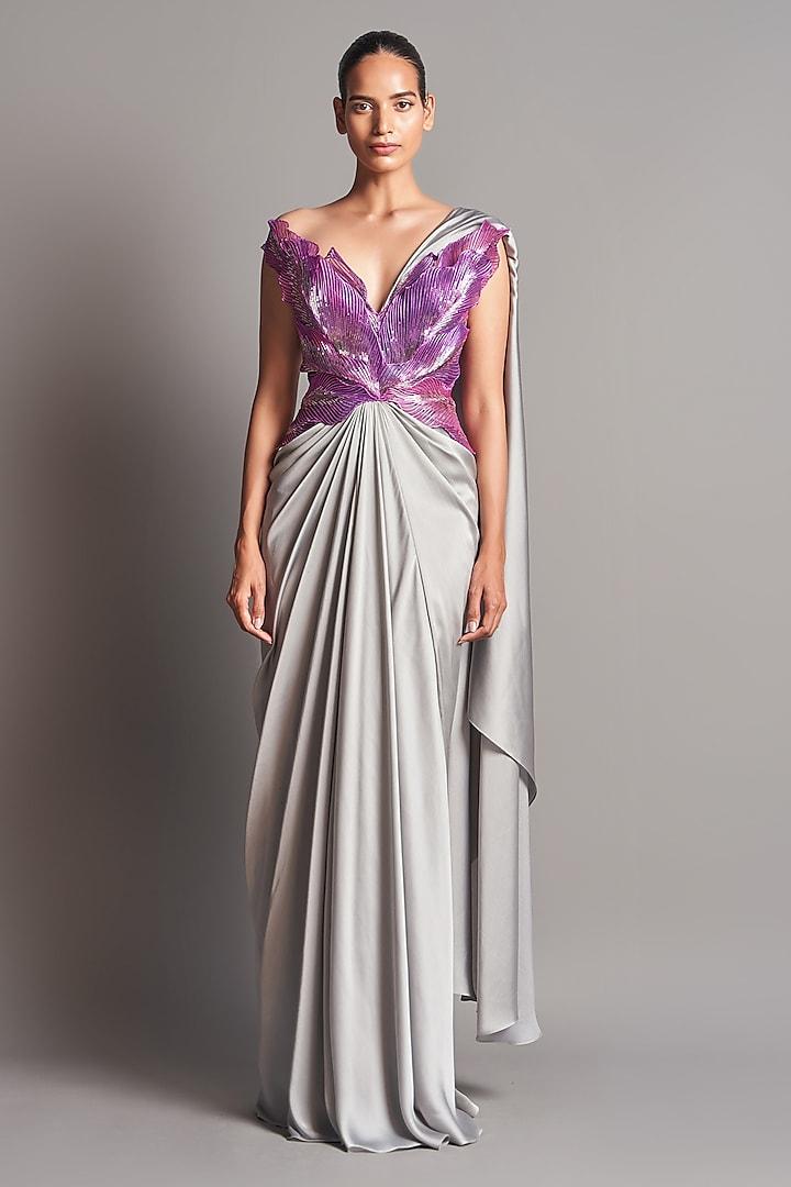Grey & Purple Metallic Saree Set by Amit Aggarwal