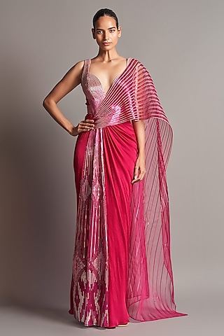 Fuchsia Hand Embroidered Pre-Stitched Saree Set by Amit Aggarwal