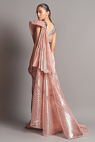 Blush Pink Hand Embroidered Saree Set by Amit Aggarwal