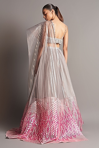 Grey & Fuchsia Embroidered Lehenga Set by Amit Aggarwal