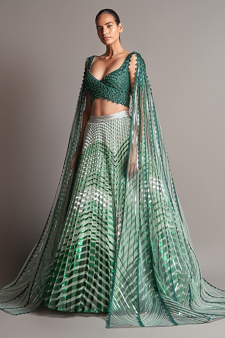 Emerald Green Embroidered Lehenga Set by Amit Aggarwal