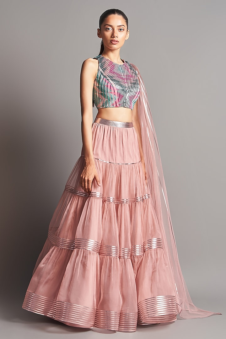 Blush Pink Structured Blouse With Lehenga by Amit Aggarwal