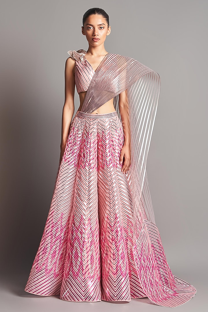 Blush Pink Embroidered Blouse With Lehenga by Amit Aggarwal