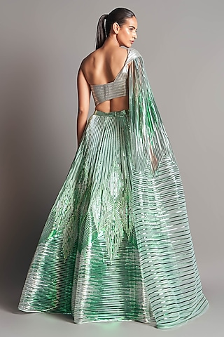 Mint Green Hand Embroidered Lehenga Set by Amit Aggarwal