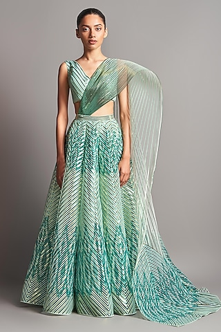 Mint Green Structured Blouse With Lehenga & Drape by Amit Aggarwal