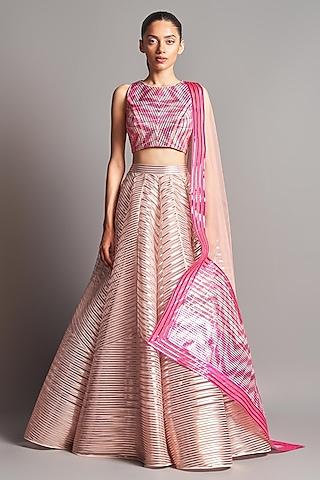 Blush Pink Metallic Lehenga Set by Amit Aggarwal