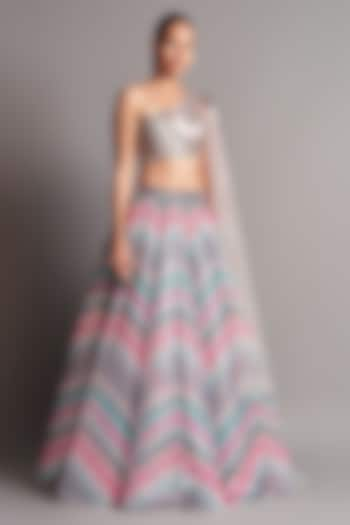 Multi Colored & Grey Hand Embroidered Lehenga Set by Amit Aggarwal