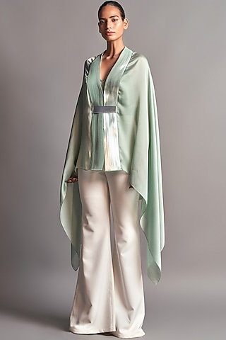 Mint Green Draped Capre by Amit Aggarwal