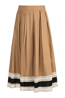 Dark Beige Pleated Midi Skirt by Amit Aggarwal