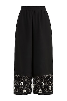 Black Embroidered Flared Pants by Amit Aggarwal