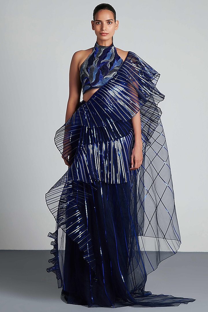 Ink Blue Striped Pre-Draped Saree Set by Amit Aggarwal