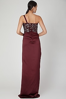 Maroon Embroidered One Shoulder Gown by Amit Aggarwal