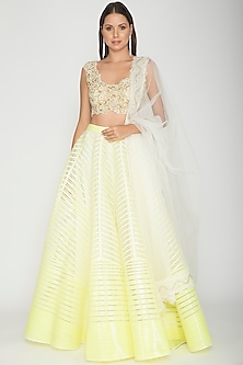 Ivory & Yellow Embroidered Lehenga Set by Amit Aggarwal