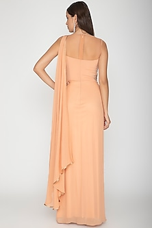 Peach Georgette Peplum Gown by Amit Aggarwal