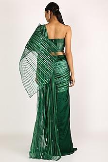 Emerald Green Draped Saree by Amit Aggarwal