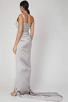Grey Embroidered One Shoulder Gown by Amit Aggarwal