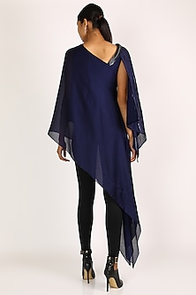 Midnight Blue Aymmetric Cape Top by Amit Aggarwal