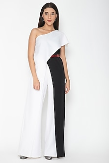 White Flared Colorblocked Jumpsuit by Amit Aggarwal
