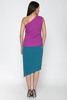 Turquoise Polyester Skirt With Slit by Amit Aggarwal