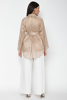 Copper Draped V-Neck Top by Amit Aggarwal
